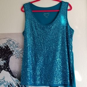 Teal Sequined Sleeveless Top